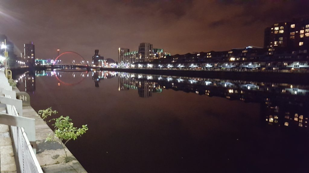 The River Clyde at night, Glasgow.